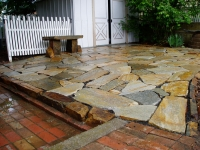 Gold Rush Flagstone Patio with Perma Bench